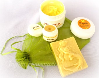 Banana 3 Piece Spa Gift Set For Women, Body Butter Lip Balm Glycerine Soap Gift For Her Under 15, Bath and Beauty Gift For Women, Skin Care.