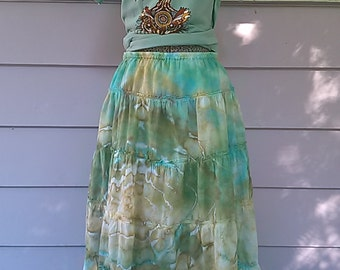 Iced Dyed peasant skirt size Large
