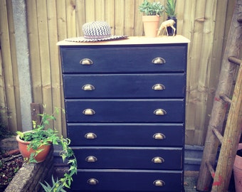 SOLD Commissions taken ***Vintage industrial style chest of drawers