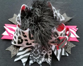 "6.5"" White and Black Leopard Print, Pink over the top Stacked Boutique Hair Bow"