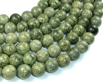 Russian Serpentine Beads, 14mm Round Beads, 15 Inch, Full strand, Approx 28 beads, Hole 1.2 mm (395054005)