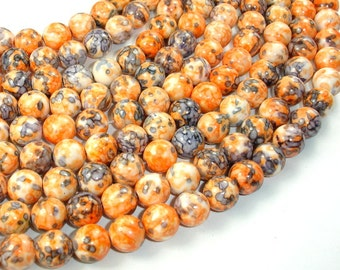 Rain Flower Stone Beads, Orange, 10mm (10.5 mm) Round Beads, 16 Inch, Full strand, Approx 39 beads, Hole 1 mm, A quality (377054011)
