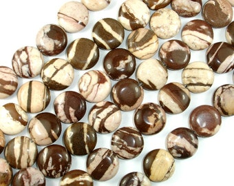Brown Zebra Jasper Beads, 16mm Coin Beads, 15.5 Inch, Full strand, Approx 25 beads, Hole 1 mm, A quality (173008002)