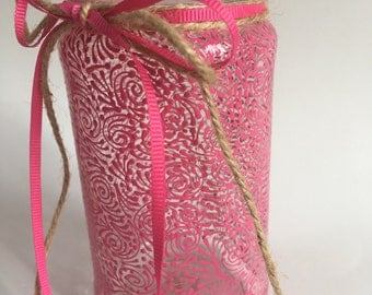 Hand Painted Small Jar/Vase (Solid Hot Pink)