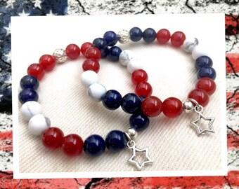 Red, White and Blue beaded Gemstone Bracelet
