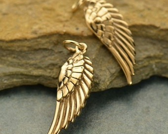 Natural Bronze Textured Wing Charm
