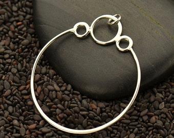 Sterling Silver, Circle Pendant, Three Bubbles, Circle with Bubbles, Silver Circle Charm, Geometric Jewelry, Geometric Pendant