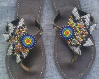 Birds of Paradise - Handmade African Kenyan Real Leather Beaded Sandals, Flip flops, Thongs
