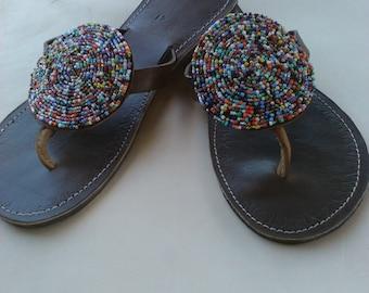 Harmony -  Handmade Leather Beaded African Kenyan Sandals, Flip flops, Thongs