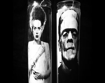 """Frankenstein & Bride Set of 2 2x8"""" Horror Candles from Toxxic Candles"""