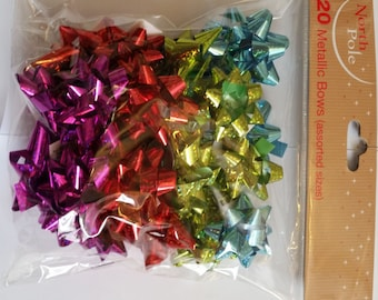 Super Value CHRISTMAS Gift Wrap Bows in 4 Holographic Colours