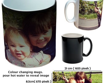 Custom colour changing picture revealing mugs cup as a special personalised gift for all occasions