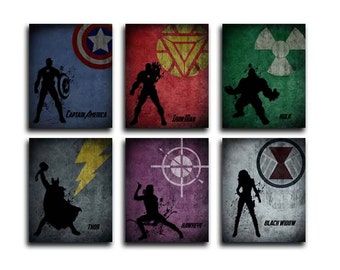 Set of 6  Avengers, superheroes, captain america, iron man, hulk. thor, hawkeye, black widow, mounted prints