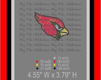 Instant Download Rhinestone SVG EPS Design File Arizona Cardinals Football Hat or Left Chest Logo