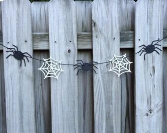 Simply Sweet Spiders & Cobwebs Garland | Black Spider Banner | Cobweb Banner | Halloween Spiders and Cobwebs Garland