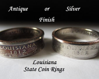 """Louisiana State Quarter Handmade """"SEALED"""" Coin Ring """"FREE SHIPPING"""""""