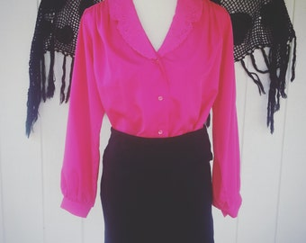 Vintage Clothing - Vintage Top - Retro Fashion - Blouse - Pink Blouse