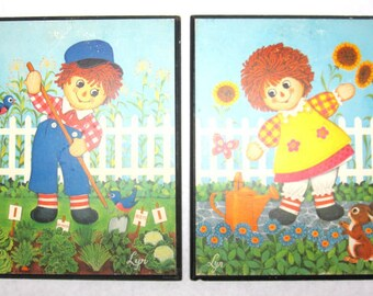 Pair of 1970's Raggedy Ann Andy Wall Hangings