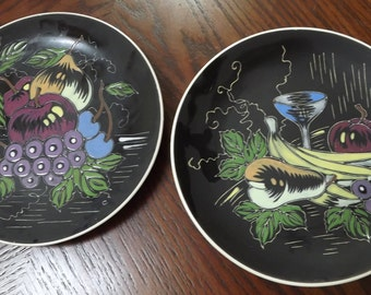 Pair of 1950s 1960s Eames Era Modern Enesco Plates Sophisticated