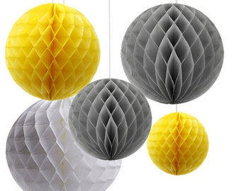 6-Pack Mixed Grey Yellow White Hanging Honeycomb Paper Flower Pompoms Baby Shower Nursery Decoration
