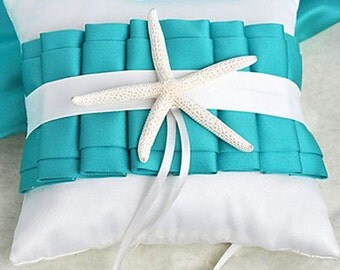 White Satin Ring Pillow Bearer With Turquoise Ruffles and Starfish Wedding Engagement Decoration