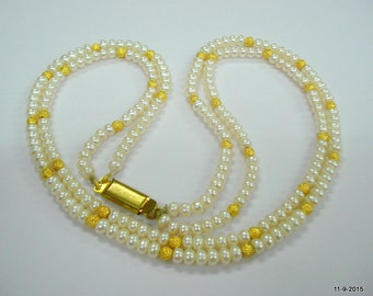 ethnic necklace pearl and gold beads necklace traditional jewellery