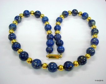 ethnic necklace lapis lazuli and gold beads necklace traditional jewellery
