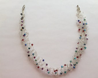 5250 5255 Sterling Silver Crocheted Wire  Choker Type Necklace with Swarovski Crystals