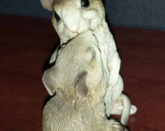 "CASTAGNA 1988 RESIN Figure ""Cuddling Mice"" Made in Italy Very Cute"