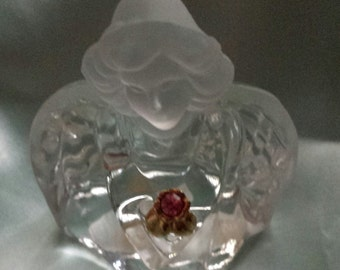 FENTON Clear Glass Angel : Guardian Angel with Gold Toned Flower and Rose Zircon
