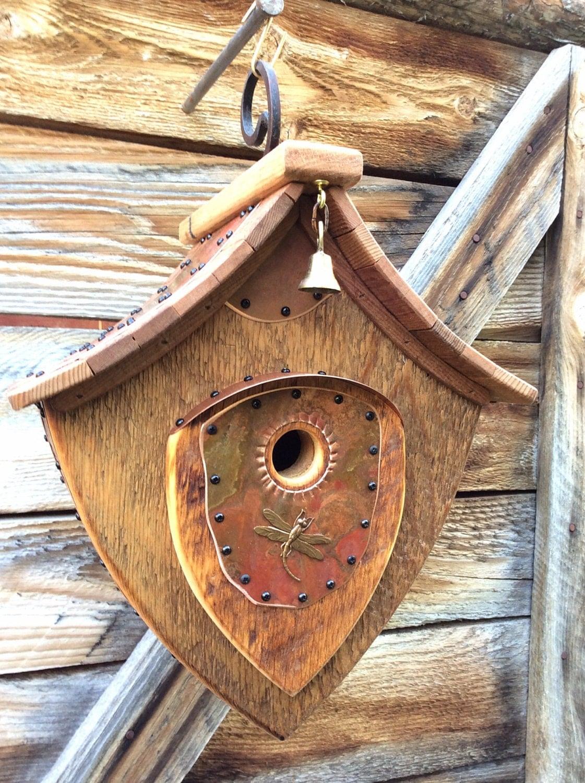 Unique barnwood birdhouse dragonfly hanging abode wedding for Creative birdhouses