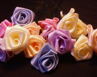 Handmade Satin Ribbon Rosettes Roses Flowers Set of 15