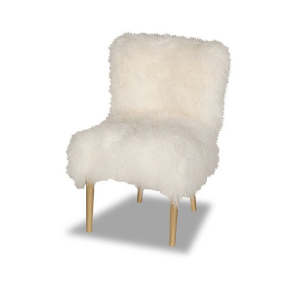 Items Similar To Madonna Furry White Mongolian Fur Chair