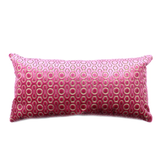 Decorative Pillows Long : Crushed Velvet Pink Cushion Long Decorative Pillow by BonMaisonDecor Etsy