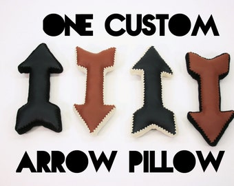 Arrow Pillow, Crochet Edging & Faux Leather, One Made to Order