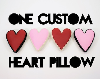 Heart Pillow, Crochet Edging & Faux Leather, One Made to Order