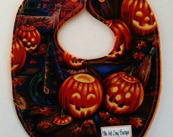 Halloween baby bib, Gender neutral bib, snap bib, baby bib, cotton bib, triple layer bib, handmade, ready to ship