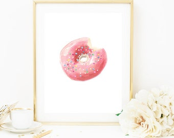 Donut Painting, Donut Print, Fall Print, Donut Art, Dessert Painting, Dessert Print, Kitchen Print, Kitchen Art