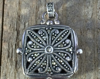 Heavy Silver and Marcasite locket