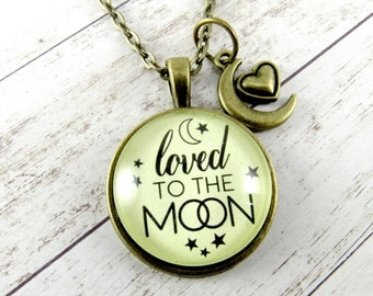Loved to the Moon Necklace for Mother Daughter Aunt Niece Necklace or Adoption Gift Also Available as I Loved You to the Moon Set