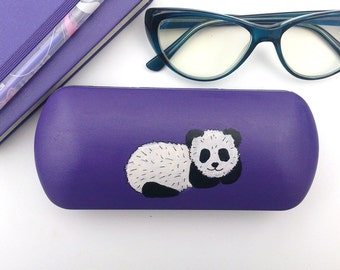 Glasses case cute panda -  box for glasses - eyewear - eyeglass case - hand-painted glasses case hard
