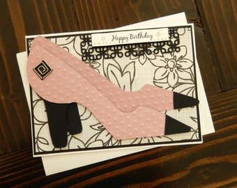 Handmade Hand Stamped Happy Birthday Card, Fashionista Pink and Black Shoes