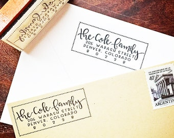 Return Address Stamp // Custom Rubber Stamp // Modern Calligraphy // Personalized Stamp // Hand-lettered
