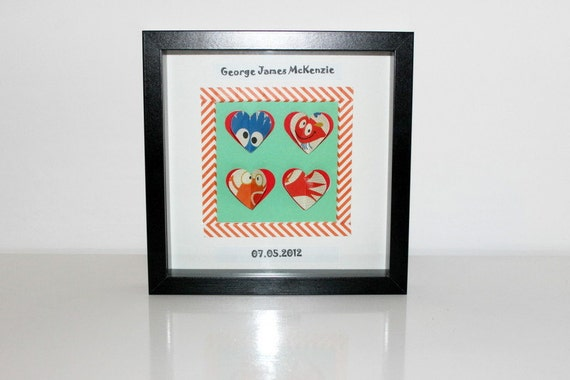 Personalised Wall Art. Boys Room. Baby Boy. Boys Room Decoration. 3D Hearts. Birthday Gift. Unique Gift. New Baby. Sweet Little Monster.