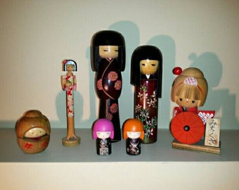 Vintage Asian Wooden Doll Collection