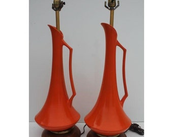 Mid-Century  Plaster  Table Lamp A- Pair.