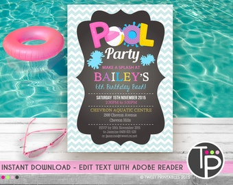 GIRL POOL PARTY Invitation, Instant Download Pool Party Invitation, Girl Pool Party Invitation, Pool Party, Edit yourself with Adobe Reader