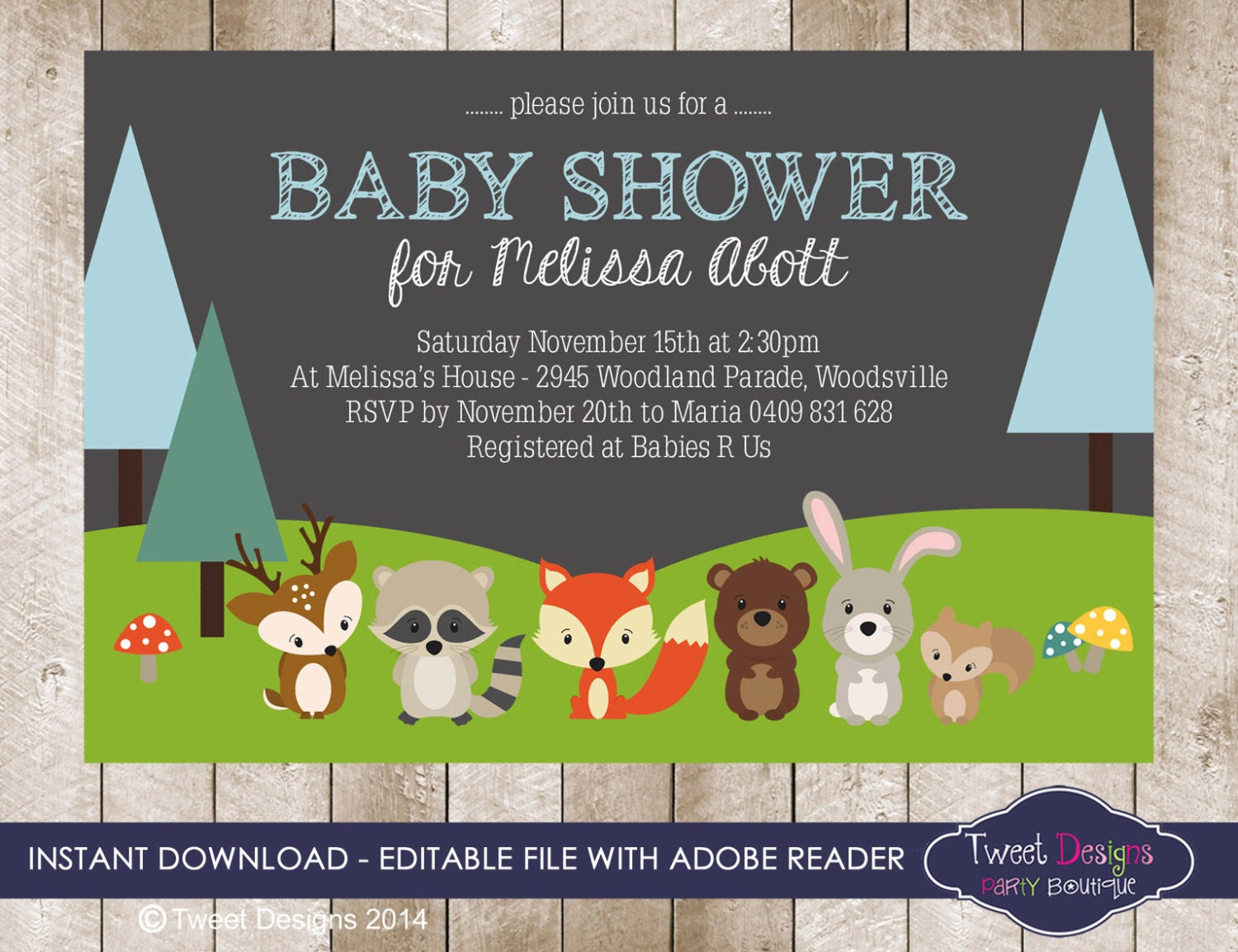 woodland baby shower invitation instant by tweetpartyprintables