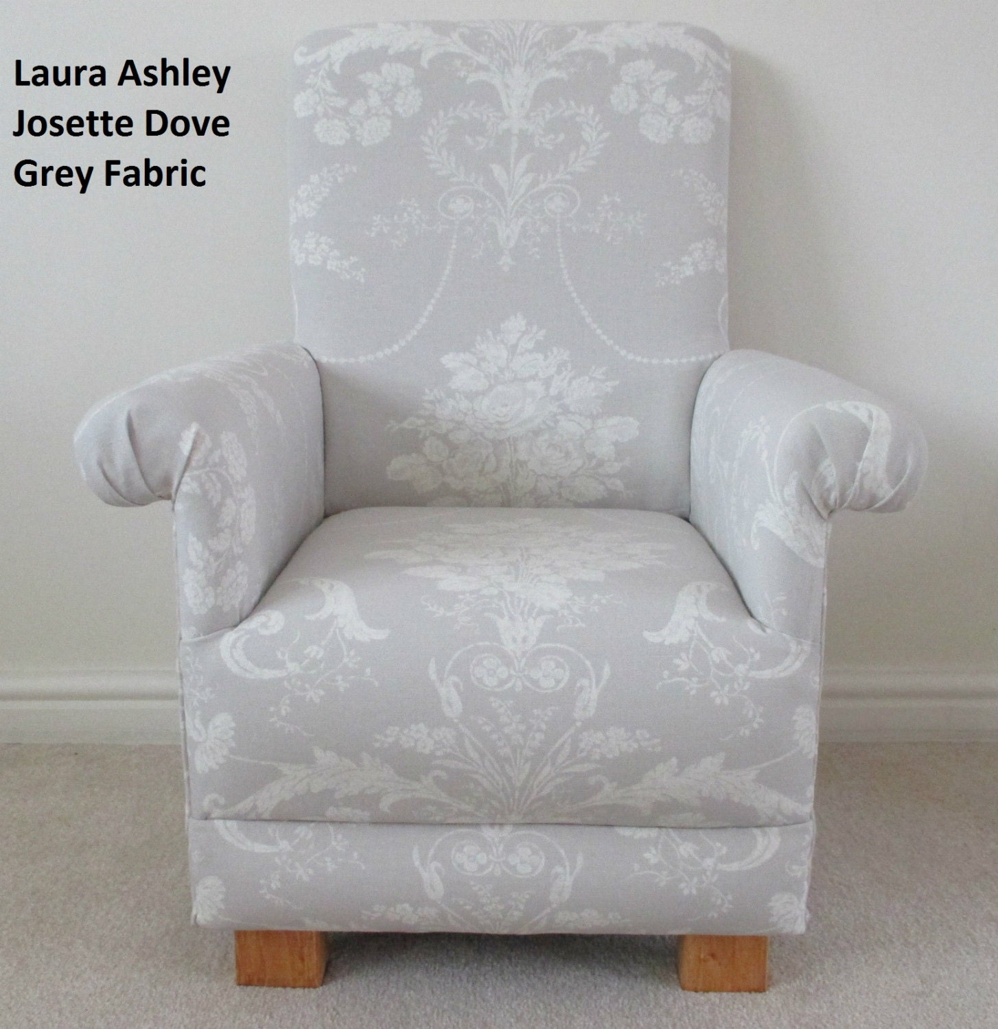 Laura ashley dove grey josette fabric kids chair nursery for Grey childrens chair