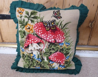 Embroidered Cushion, butterfly, toadstool